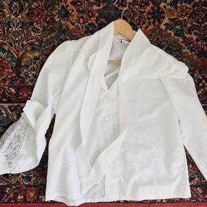 Vintage Tops - Vintage Secretary Necktie Boxy Blouse Button Up